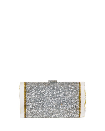 Lara Confetti Clutch Bag, Silver/Gold