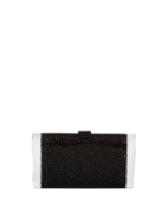 Lara Confetti Clutch Bag, Black
