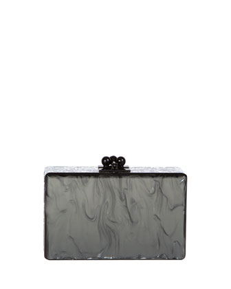 Minnie Marbled Acrylic Clutch Bag, Steel/Silver