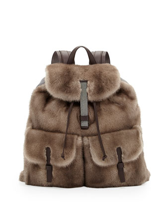 Mink Fur Backpack, Brown