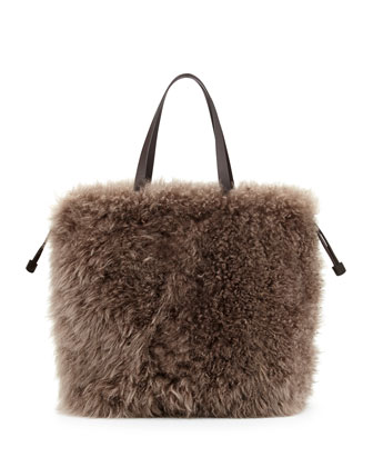 Cashmere Fur Shopping Bag, Brown