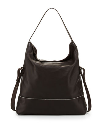 Leather Hobo Crossbody Bag, Black