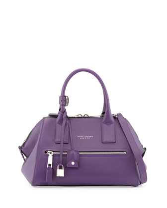 Incognito Small Leather Satchel Bag, Purple