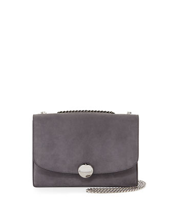 Trouble Suede Double-Chain Shoulder Bag, Dark Gray