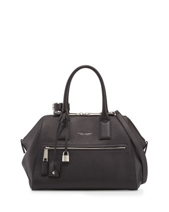 Incognito Medium Leather Satchel Bag, Black