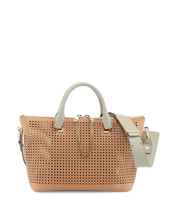 Baylee Perforated Medium Shoulder Bag, Beige/Gray