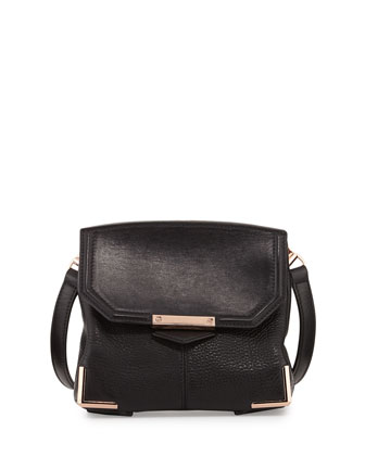 Prisma Pebbled Lambskin Flat-Bottom Crossbody, Black