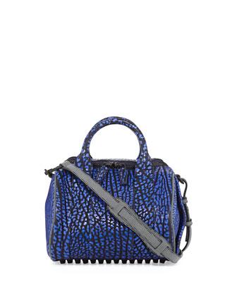 Rockie Contrast-Embossed Calfskin Crossbody Duffel Bag, Nile