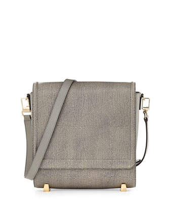 Chastity Lizard-Embossed Calfskin Messenger Bag, Oyster