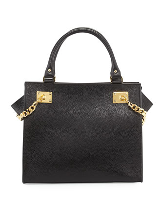 Chain Leather Shopper, Black