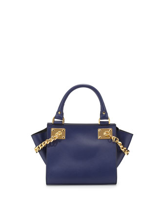 Mini Chain Leather Shopper Bag, French Navy