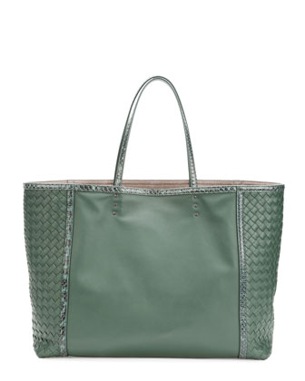 Medium Snake & Napa Tote Bag, Green