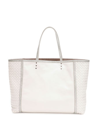 Medium Snake & Napa Tote Bag, White