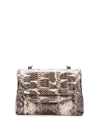 Medium Snakeskin Flap Shoulder Bag