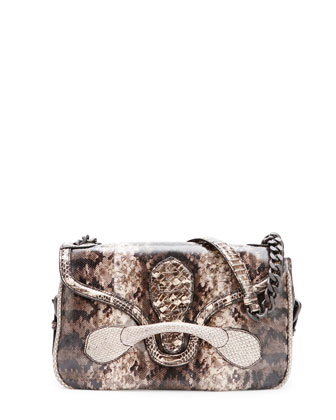 Medium Snakeskin Flap Shoulder Bag, Tan Multi