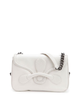 Medium Intrecciato Flap Shoulder Bag, White