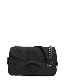 Medium Intrecciato Flap Shoulder Bag, Black