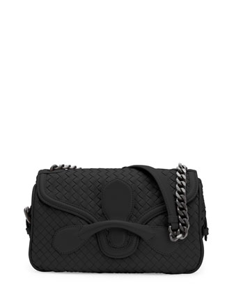 Medium Intrecciato Flap Shoulder Bag, Black