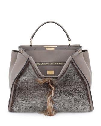 Peekaboo Large Fur Tote Bag, Brown Multi