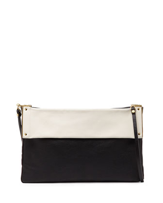 Bicolor Leather Shoulder Bag, Black