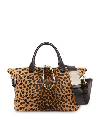 Baylee Calf Hair Medium Satchel Bag, Leopard
