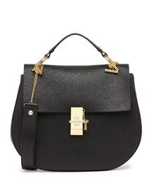 Drew Medium Calfskin Shoulder Bag, Black