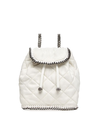 Falabella Quilted Mini Backpack, Chalk
