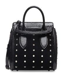 Heroine Spiked Satchel Bag with Crossbody Strap, Black