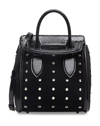 Heroine Spiked Satchel Bag with Crossbody Strap, Black