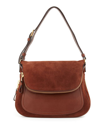 Jennifer Suede Shoulder Bag, Brown