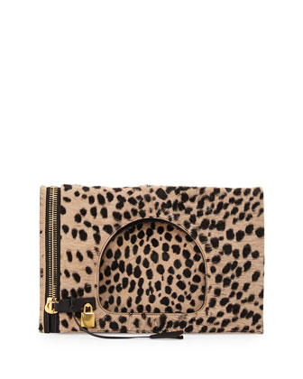 Alix Calf Hair Padlock & Zip Shoulder Bag, Cheetah