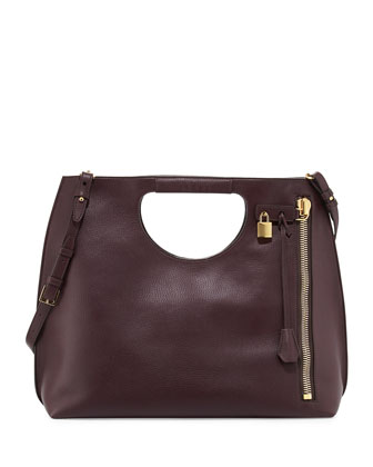 Alix Leather Padlock & Zip Shoulder Tote Bag, Bordeaux
