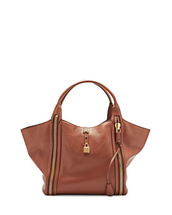 Amber Double-Zip Leather Tote Bag, Rose