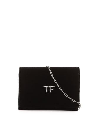 TF Velvet Chain Shoulder Bag, Black