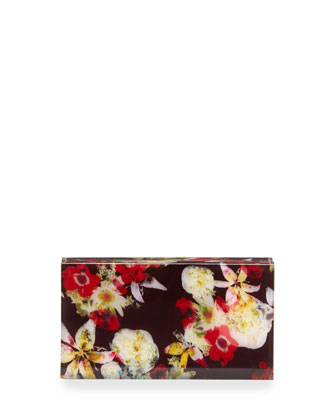 Floral-Print Acrylic Box Clutch Bag, Multi