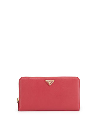 Saffiano Triangle Zip-Around Wallet, Pink (Peonia)