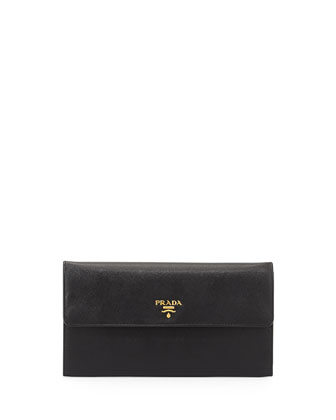 Saffiano Large Travel Flap Wallet, Black (Nero)