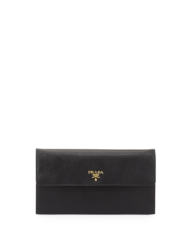 Prada Saffiano Large Travel Flap Wallet, Black (Nero), Size: L