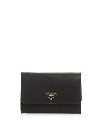 Saffiano Metal Oro Wristlet Wallet, Black (Nero)