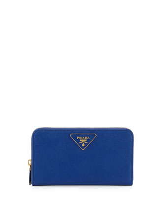 Saffiano Triangle Zip-Around Wallet, Blue (Royal)