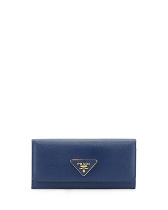Saffiano Triangle Continental Flap Wallet, Blue (Bluette)