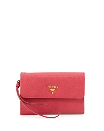 Saffiano Wristlet Clutch Bag, Pink (Geranio)