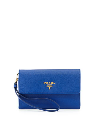 Saffiano Wristlet Clutch Bag, Royal Blue (Inchiostro)