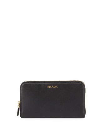 Saffiano Double-Wall Wallet, Black/Red (Nero+Fuoco)
