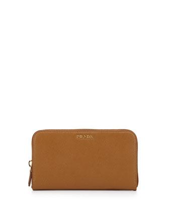 Saffiano Double Bicolor Wallet, Camel/Red (Caramello+Fuoco)