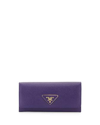 Saffiano Triangle Continental Flap Wallet, Violet (Viola)