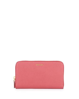 Saffiano Double Bicolor Wallet, Pink/Black (Peonia/Nero)