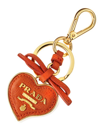 Saffiano Leather Heart Key Chain, Orange (Papaya)