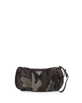 Tessuto Camouflage Wristlet Bag, Gray Multi (Fumo)