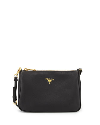 Vitello Small Shoulder Bag, Black (Nero)